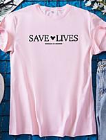 cheap -Women's T shirt Graphic Heart Letter Print Round Neck Tops 100% Cotton Basic Basic Top White Black Blue