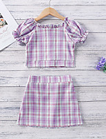 cheap -Toddler Little Girls' Dress Plaid Print Purple Maxi Short Sleeve Sweet Dresses Regular Fit