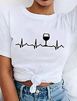 cheap -Women's T shirt Letter Print Round Neck Tops 100% Cotton Basic Basic Top White Black