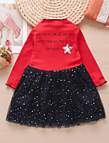 cheap -Kids Little Girls' Dress Letter Print White Red Yellow Midi Long Sleeve Cute Dresses Regular Fit