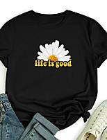 cheap -Women's T shirt Graphic Daisy Letter Print Round Neck Tops 100% Cotton Basic Basic Top White Black Blue