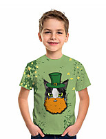 cheap -Kids Boys' T shirt Tee Short Sleeve Cat Graphic 3D Four Leaf Clover Print Children St. Patrick Tops Active Green