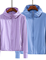 cheap -Women's Hiking Skin Jacket Hiking Windbreaker Outdoor Solid Color Packable Waterproof Lightweight UV Sun Protection Outerwear Jacket Top Elastane Fishing Climbing Running White Purple Blue Pink Grey