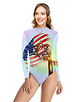 cheap -Women's New Vacation Fashion One Piece Swimsuit Color Block Flag Tummy Control Print Bodysuit Normal High Neck Swimwear Bathing Suits Black Yellow Rainbow / Letter