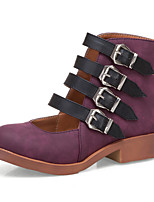 cheap -Women's Boots Chunky Heel Round Toe Booties Ankle Boots Casual Daily Walking Shoes PU Buckle Solid Colored Black Purple Beige / Booties / Ankle Boots