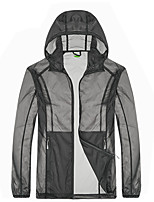 cheap -Men's Hiking Skin Jacket Hiking Windbreaker Outdoor Solid Color Packable Waterproof Lightweight UV Sun Protection Outerwear Jacket Top Fishing Climbing Running Dark Grey Army Green Blue / Breathable