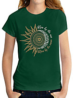 cheap -Women's T shirt Graphic Print Round Neck Tops Basic Basic Top Green