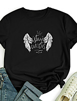 cheap -Women's T shirt Graphic Text Angel Print Round Neck Tops 100% Cotton Basic Basic Top Black Blue Red