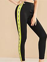 cheap -Women's Sports Leggings Sweatpants Pants Plain Full Length Patchwork Black Green