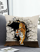 cheap -1 Pc Cushion Cover with or without Pillow Insert Double Side Print 3D Tiger 38x38cm / 45x45cm Polyester