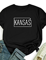 cheap -Women's T shirt Graphic Text Letter Print Round Neck Tops 100% Cotton Basic Basic Top White Black Blue