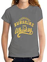 cheap -Women's T shirt Graphic Text Print Round Neck Tops Basic Basic Top Gray