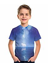 cheap -Kids Boys' T shirt Tee Short Sleeve Blue & White Graphic 3D Animal Print Children Tops Active Blue