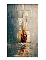 cheap -Oil Painting Hand Painted Vertical Abstract Landscape Modern Rolled Canvas (No Frame)