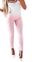 cheap -Women's Stylish Streetwear Comfort Daily Club Skinny Pants Plain Full Length Elastic Waist White Blushing Pink