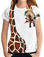 cheap -Women's T shirt Graphic 3D Giraffe Print Round Neck Tops Basic Basic Top White