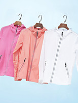 cheap -Women's Hiking Skin Jacket Hiking Windbreaker Outdoor Solid Color Packable Waterproof Lightweight UV Sun Protection Outerwear Jacket Top Full Length Visible Zipper Fishing Climbing Running White Red