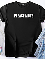 cheap -Women's T shirt Graphic Letter Print Round Neck Tops 100% Cotton Basic Basic Top White Black Blue
