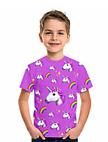 cheap -Kids Boys' T shirt Tee Short Sleeve Unicorn Graphic 3D Animal Print Children Tops Active Purple