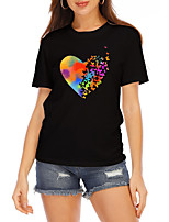cheap -Women's T shirt Graphic Heart Print Round Neck Tops 100% Cotton Basic Basic Top White Black