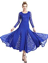 cheap -Ballroom Dance Dress Pleats Split Joint Women's Training Performance Long Sleeve Natural Lace Milk Fiber