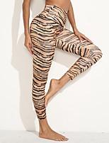cheap -Women's Sporty Yoga Comfort Sports Sport Daily Leggings Pants Stripe Ankle-Length Yellow