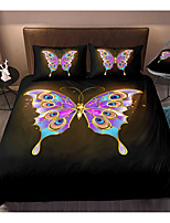 cheap -Butterfly Print 3-Piece Duvet Cover Set Hotel Bedding Sets Comforter Cover with Soft Lightweight Microfiber, Include 1 Duvet Cover, 2 Pillowcases for Double/Queen/King(1 Pillowcase for Twin/Single)
