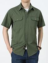 cheap -Men's Hiking Shirt / Button Down Shirts Military Tactical Shirt Short Sleeve Sweatshirt Top Outdoor Lightweight Breathable Quick Dry Sweat wicking Summer Cotton ArmyGreen Denim Blue Black Running
