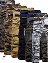 cheap -Men's Hiking Pants Trousers Hiking Cargo Pants Solid Color Outdoor Breathable Anti-tear Multi-Pockets Wear Resistance Cotton Bottoms Jungle camouflage Black Army Green Camouflage Grey Hunting Fishing