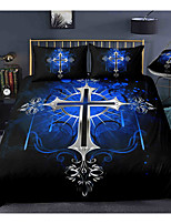 cheap -Easter Cross 3-Piece Duvet Cover Set Hotel Bedding Sets Comforter Cover with Soft Lightweight Microfiber, Include 1 Duvet Cover, 2 Pillowcases for Double/Queen/King(1 Pillowcase for Twin/Single)