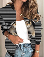 cheap -Women's Animal Patterned Print Active Spring &  Fall Jacket Regular Daily Long Sleeve Air Layer Fabric Coat Tops Black