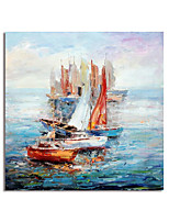 cheap -Hand Painted Canvas Oil Paintings Modern Art Abstract Boats Stretched Squre Abstract Artwork Ready to Hang