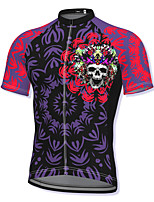 cheap -21Grams Men's Short Sleeve Cycling Jersey Spandex Purple Skull Bike Top Mountain Bike MTB Road Bike Cycling Breathable Quick Dry Sports Clothing Apparel / Athleisure