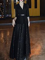 cheap -A-Line Glittering Elegant Wedding Guest Formal Evening Dress V Neck Half Sleeve Floor Length Spandex with Sash / Ribbon Sequin 2021