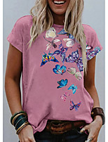 cheap -Women's T shirt Graphic Butterfly Print Round Neck Tops Basic Basic Top Blushing Pink