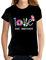 cheap -Women's T shirt Graphic Text Flower Print Round Neck Tops 100% Cotton Basic Basic Top White Black