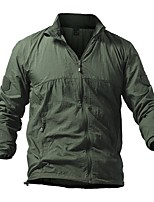 cheap -Men's Hiking Jacket Hiking Windbreaker Outdoor Solid Color Waterproof Lightweight Breathable Quick Dry Top Full Length Visible Zipper Hunting Fishing Climbing Blue Grey Khaki Green