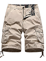cheap -Men's Hiking Shorts Hiking Cargo Shorts Solid Color Summer Outdoor Breathable Multi-Pockets Wear Resistance Scratch Resistant Cotton Shorts Black Army Green Grey Khaki Dark Blue Hunting Fishing