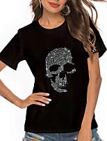 cheap -Women's T shirt Graphic Skull Print Round Neck Tops Basic Basic Top Black