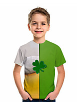 cheap -Kids Boys' T shirt Tee Short Sleeve Graphic Color Block 3D Print Children St. Patrick Tops Active Green