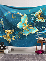 cheap -Wall Tapestry Art Decor Blanket Curtain Hanging Home Bedroom Living Room Decoration Polyester Blue Gold Butterfly