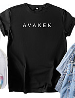 cheap -Women's T shirt Graphic Text Letter Print Round Neck Tops 100% Cotton Basic Basic Top Black Blue Red