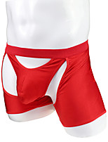 cheap -Men's 1 Piece Basic Boxers Underwear - Normal Low Waist Black Red M L XL