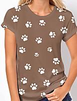 cheap -Women's T shirt Dog Graphic Print Round Neck Tops Basic Basic Top White Navy Blue Khaki