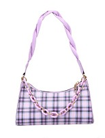 cheap -Women's Bags PU Leather Top Handle Bag Hobo Bag Zipper Chain Plaid Checkered Daily Going out 2021 Handbags Chain Bag White Blue Purple Red