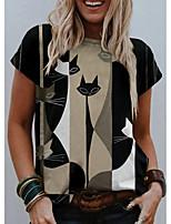 cheap -Women's T shirt Cat Graphic Print Round Neck Tops Basic Basic Top Black
