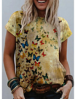 cheap -Women's T shirt Graphic Butterfly Print Round Neck Tops Basic Basic Top Yellow
