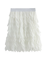 cheap -Women's Ceremony Date Active Elegant Skirts Solid Colored Tassel Fringe Patchwork White