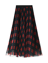 cheap -Women's Vacation Going out Elegant Streetwear Skirts Geometric Layered Pleated Print Blue Red Green