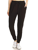 cheap -Women's Classic Style Casual / Sporty Comfort Casual Daily Skinny Pants Plain Ankle-Length Drawstring Pocket Black Wine